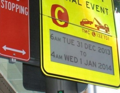 E-mastilo na saobraćajnim znacima u Australiji