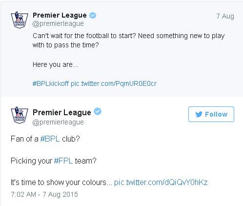 premijer liga twitter