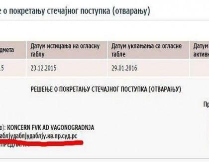 "Oglasio se sud: Adresa ""даблјудаблјудаблју.кв.пр.суд.рс."" je tehnička greška"