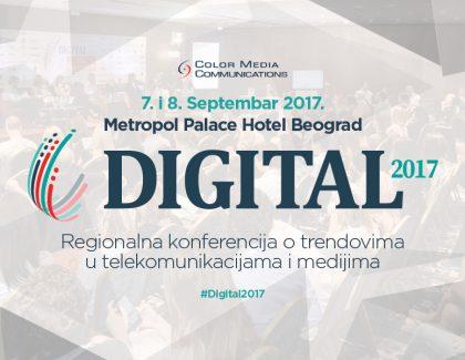 "Regionalna konferencija ""Digital 2017"" 7. i 8. septembra u Beogradu"