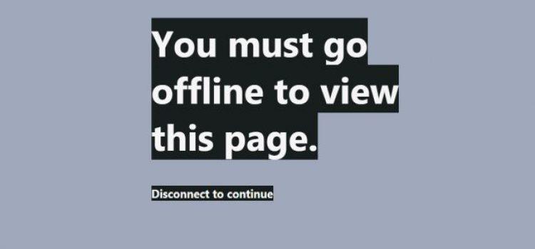 Ovu Internet stranicu možete da posetite samo ako se diskonektujete